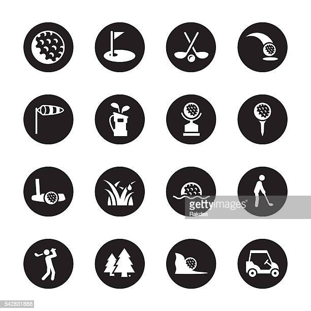 golf icons - black circle series - teeing off stock illustrations, clip art, cartoons, & icons
