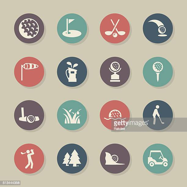 golf icons - color circle series - sand trap stock illustrations, clip art, cartoons, & icons