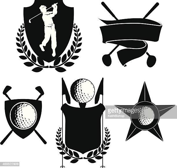 Golf Icons - Golfer Shields, Clubs and Banner