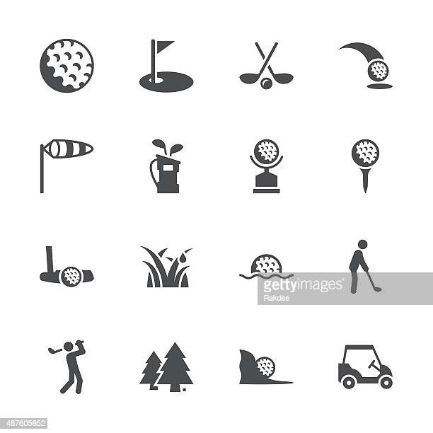 golf icons - gray series - ace stock illustrations, clip art, cartoons, & icons