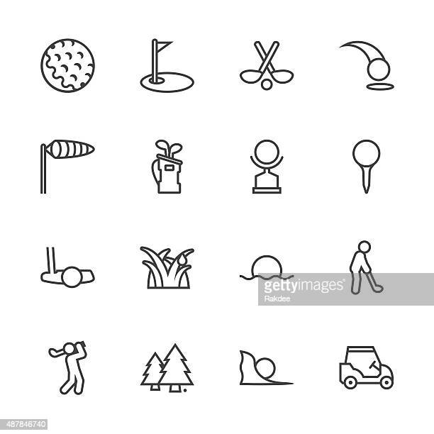 golf icons - line series - golf flag stock illustrations