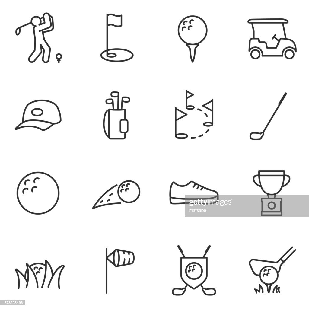 Golf icons set. Editable stroke.