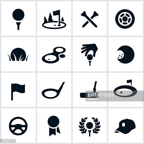 golf icons - sand trap stock illustrations, clip art, cartoons, & icons