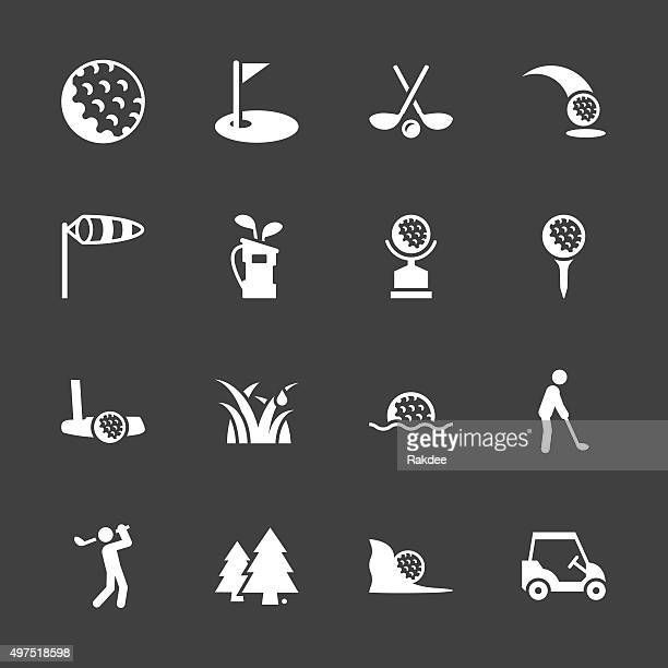 golf icons - white series - sand trap stock illustrations, clip art, cartoons, & icons