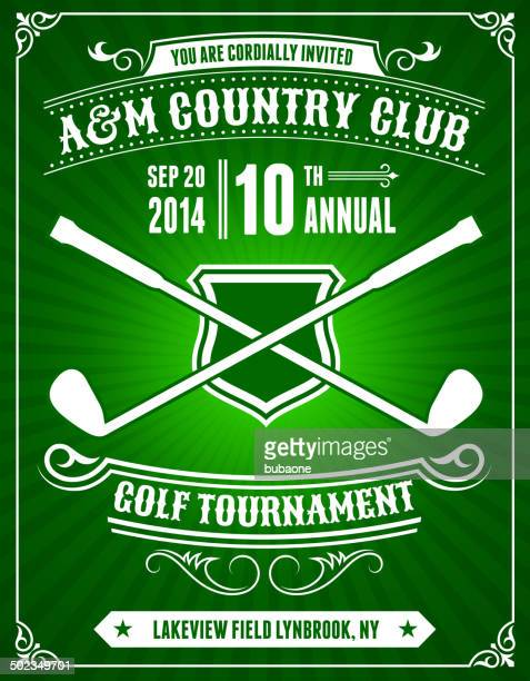 golf invitation tournament on green background - country club stock illustrations, clip art, cartoons, & icons