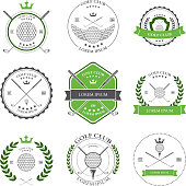 Golf labels and icons set. Vector