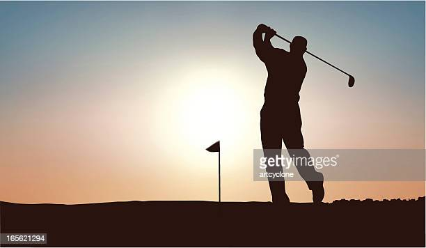 golf man - golf swing stock illustrations, clip art, cartoons, & icons