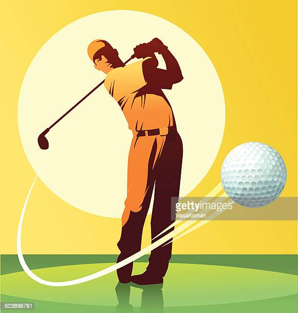 golf player hitting the ball - golf swing stock illustrations