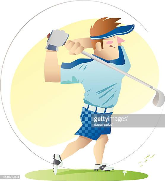 golf player illustration - teeing off stock illustrations, clip art, cartoons, & icons