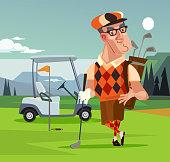 Golf player man character