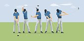 Golf player motions.