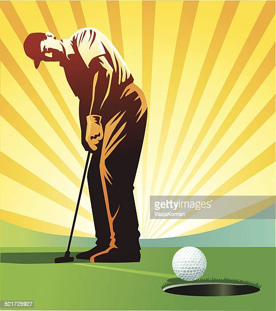 golf player putting - putting stock illustrations
