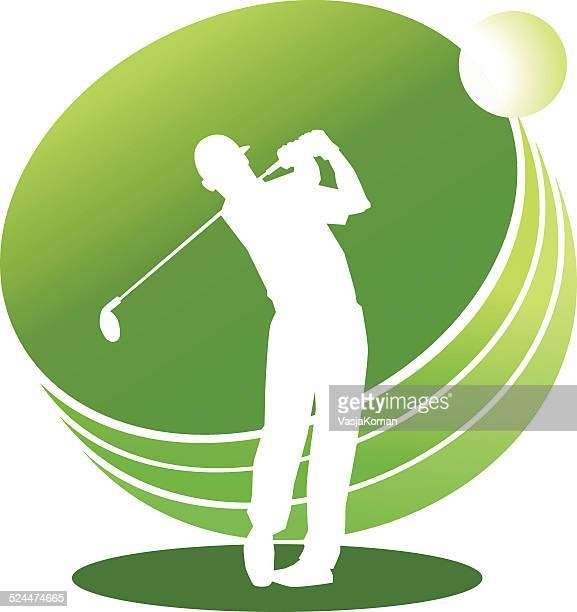 ilustrações de stock, clip art, desenhos animados e ícones de silhueta de jogador de golfe no fundo verde - golf tournament