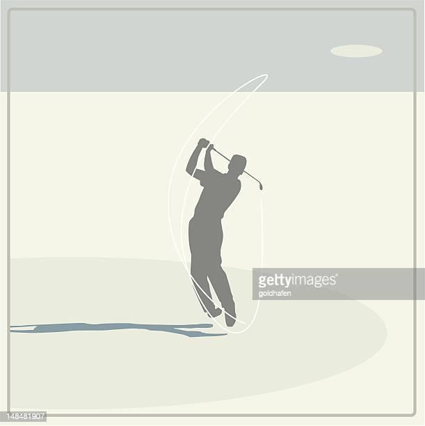 golf player swinging - golf swing stock illustrations, clip art, cartoons, & icons