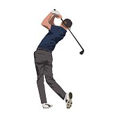 Golf player swinging with club, isolated vector illustration