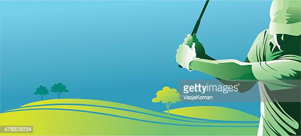 Golf Player Swinging With Copy Space