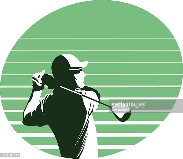 ゴルフ選手ブランコの緑の背景