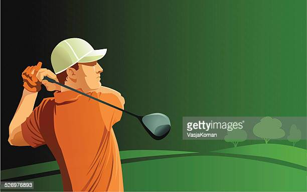 golf player teeing off on green background - drive ball sports stock illustrations, clip art, cartoons, & icons