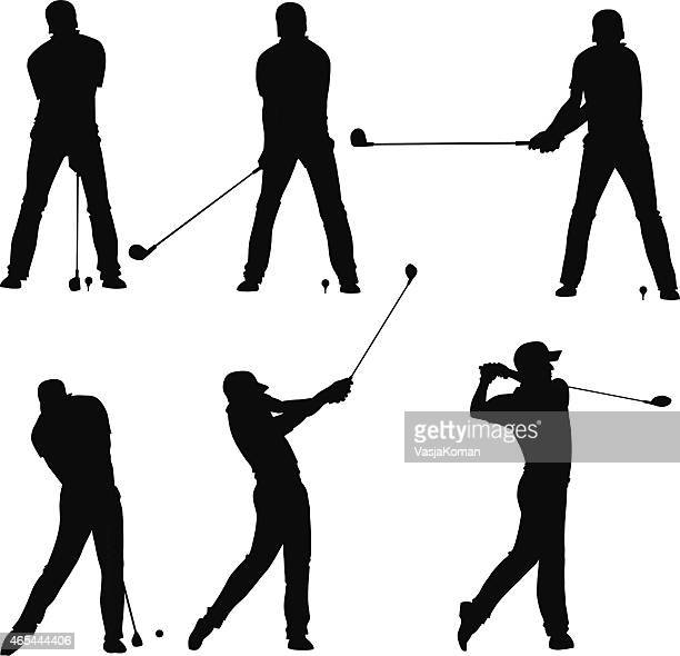 golf player teeing off - silhouettes set - golf swing stock illustrations