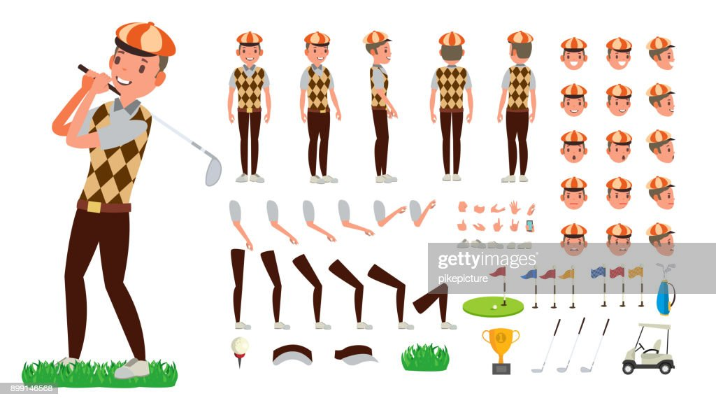 Golf Player Vector. Animated Character Creation Set. Football Tools And Equipment. Full Length, Front, Side, Back View, Accessories, Poses, Face Emotions, Gestures. Isolated Flat Cartoon Illustration
