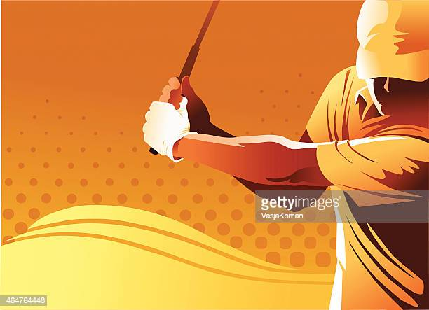 golf player with copy space - teeing off stock illustrations, clip art, cartoons, & icons