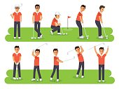 Golf players, golf sport athletes in actions