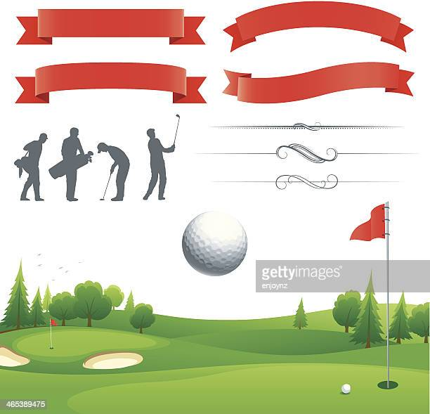 golf poster elements - sand trap stock illustrations, clip art, cartoons, & icons