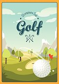 Golf poster in cartoon style with a landscape golf course.