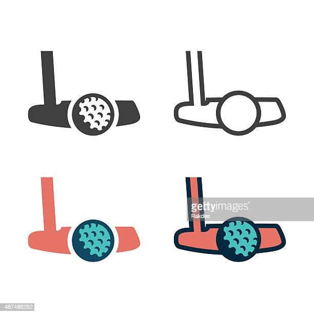ilustrações de stock, clip art, desenhos animados e ícones de taco de golfe com bola ícone - golf tournament