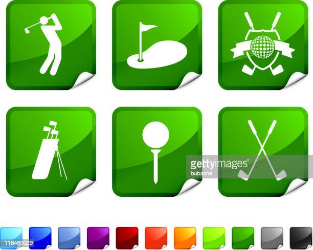 golf royalty free vector icon set - teeing off stock illustrations, clip art, cartoons, & icons