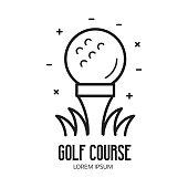 Golf School or Club Icon with Ball