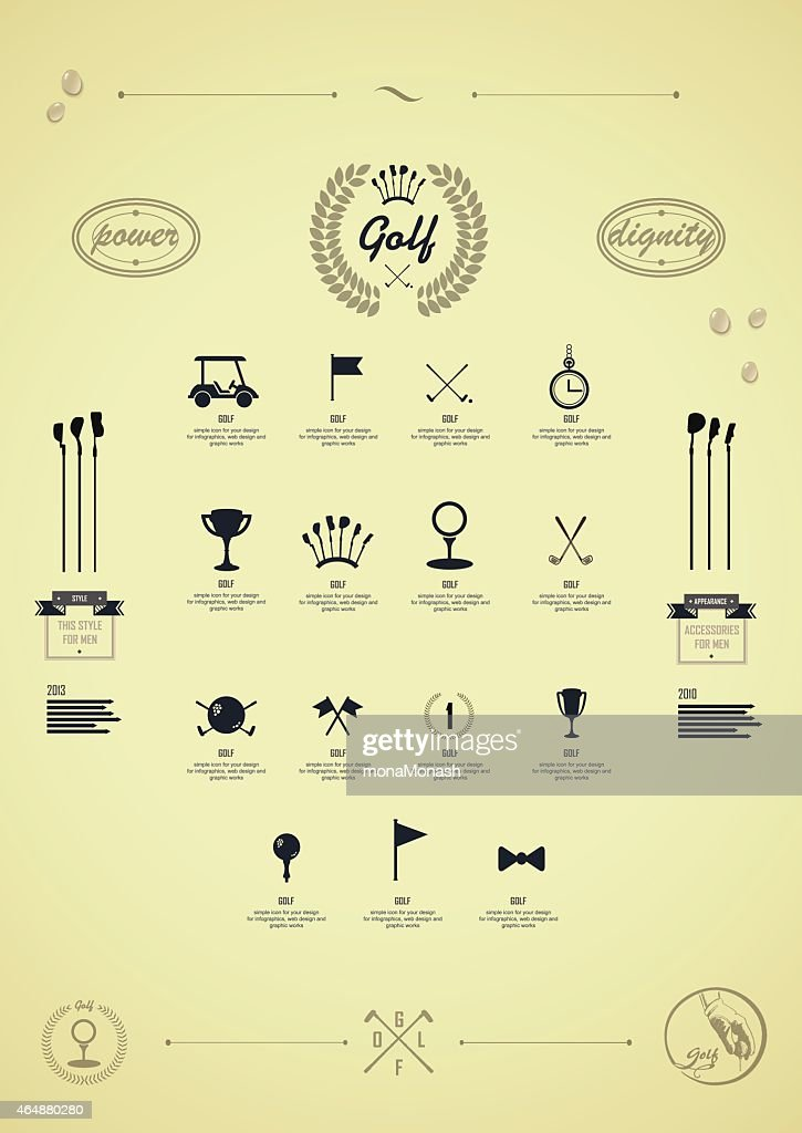 Golf. Set of vintage patterns. Logo for golf