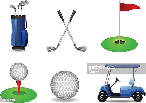 golf set - green golf course stock illustrations, clip art, cartoons, & icons