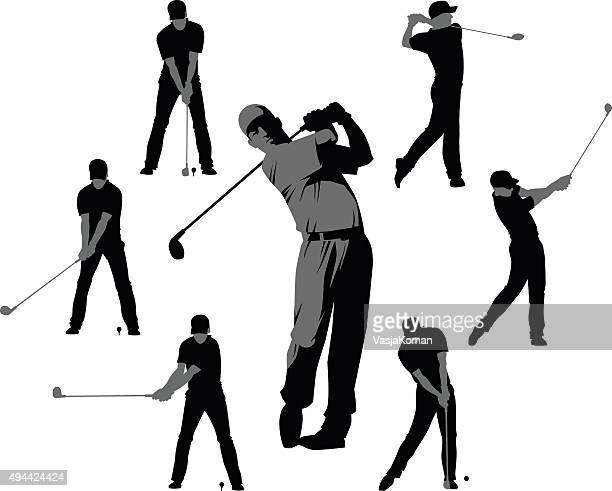 golf silhouettes - set of seven - golfer stock illustrations