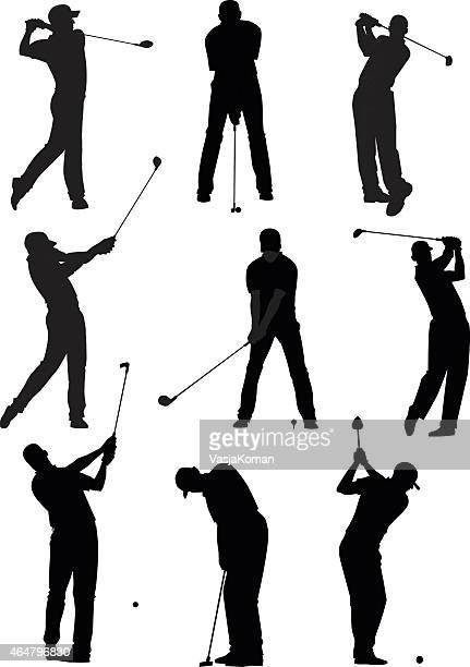 golf silhouettes set - golf swing stock illustrations