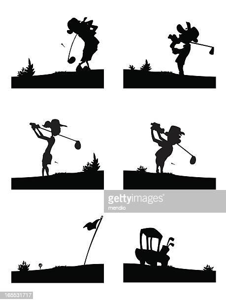 golf silhouettes - teeing off stock illustrations, clip art, cartoons, & icons