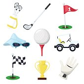 Golf sport equipment club stick, ball and hole on tee or cart car on green course for championship or tournament vector illustration.