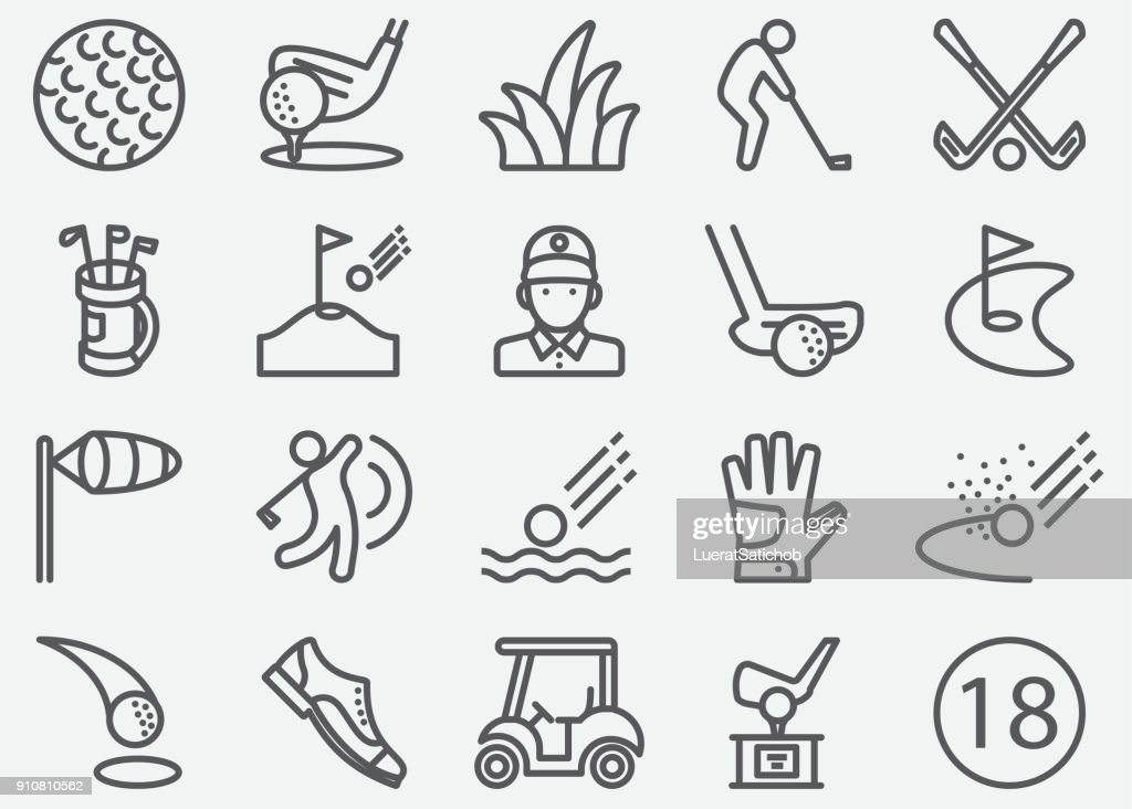 Golf Sport Line Icons