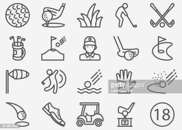 golf sport line icons - putting stock illustrations