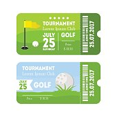 Golf Sport Ticket Set. Vector