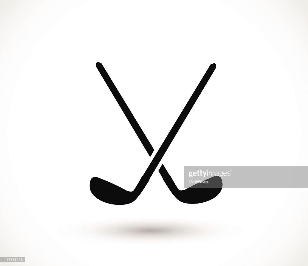 Golf sticks crossed icon vector illustration