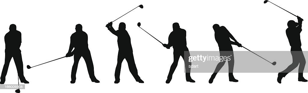 golf swing sequence vector art