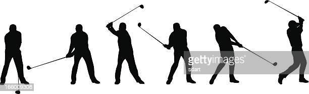 golf swing sequence - golf swing stock illustrations
