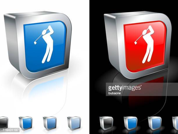 golf swing square royalty free vector art - teeing off stock illustrations, clip art, cartoons, & icons