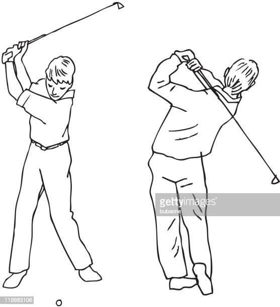 golf swing - golf swing stock illustrations, clip art, cartoons, & icons