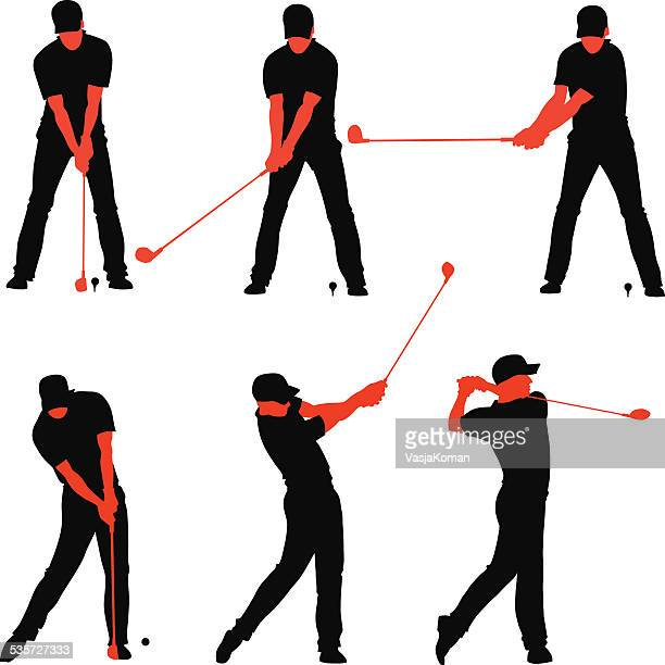 golf teeing off sequences - golf swing stock illustrations