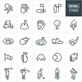 Golf Thin Line Icons - Editable Stroke