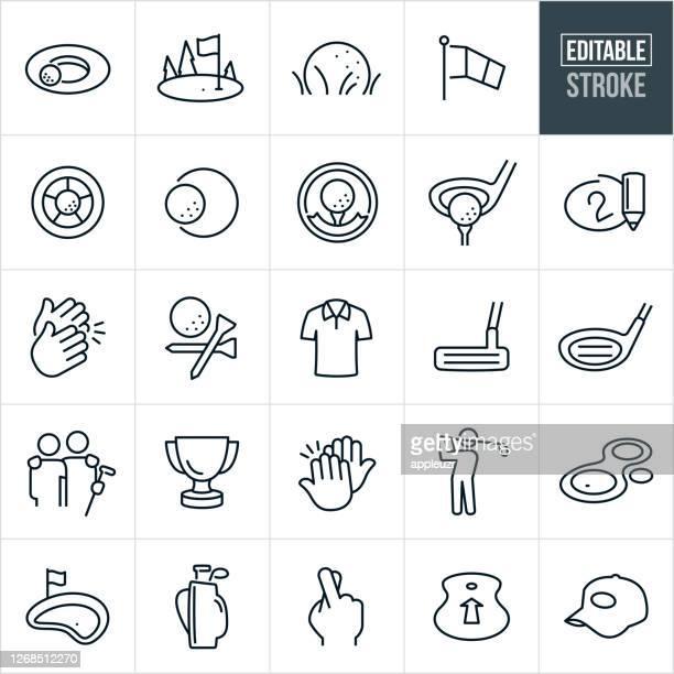 golf thin line icons - editable stroke - putting stock illustrations