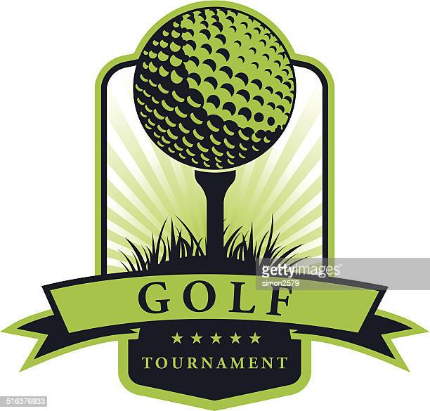 ilustraciones, imágenes clip art, dibujos animados e iconos de stock de emblema de golf tournament - golf