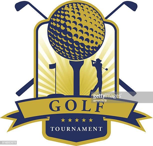 ilustrações de stock, clip art, desenhos animados e ícones de torneio de golfe emblema - golf tournament